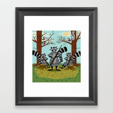Raccoons Playing Bassoons Framed Art Print