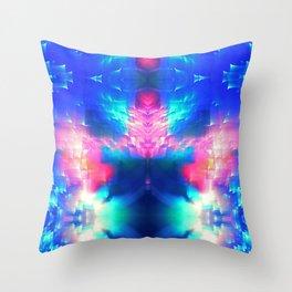 blue butterfly light vaporwave aesthetic abstract art print Throw Pillow