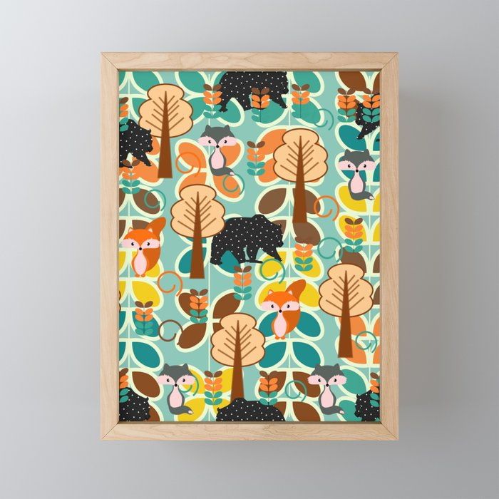 Magical forest with foxes and bears Framed Mini Art Print