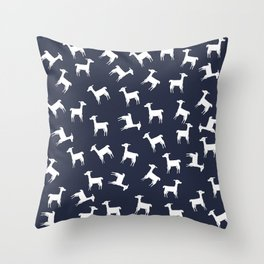 ALPACA PATTERN INDIGO - ALL ABOUT LLAMAS Throw Pillow