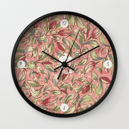 Antique Boho Floral IV - Rose and Pale Pink Wall Clock