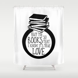 Bookish Engagment Shower Curtain