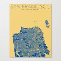 san francisco map Canvas Prints featuring SAN FRANCISCO City Map by Samantha Jeet
