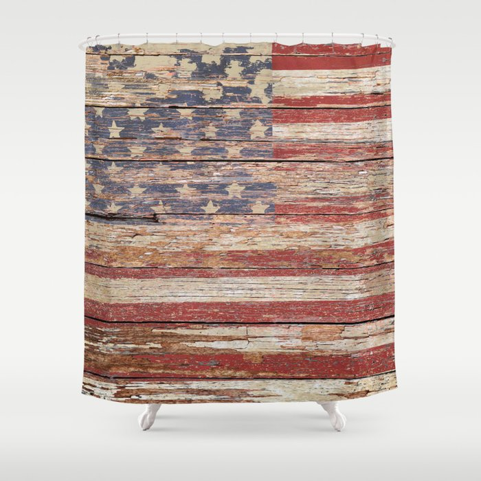 New Americana Rustic Flag Country Home Decor Patriotic Art A643 Shower Curtain By Nicolphotographicart