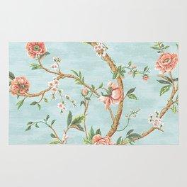 Rose bushes have thorns -Roses Flowers Floral Vintage Retro on Aqua #Society6 Rug