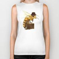 bee Biker Tanks featuring Worker Bee by Eric Fan