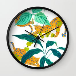 Leopards Playing among Plants Wall Clock