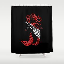 Tribal Scuba Flag Mermaid Shower Curtain