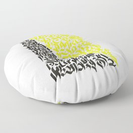 black and yellow calligraffiti pattern Floor Pillow