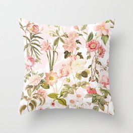 Vintage & Shabby Chic - Pink Sepia Summer Flowers Throw Pillow