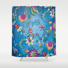 Blue Lapis Velvet Texture Chintz Multicolour Bohemian Floral Pattern Shower Curtain