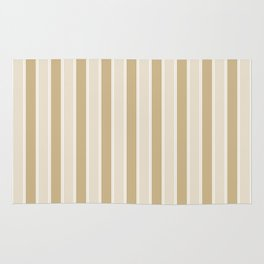Large Vertical Christmas Burnished Matte Gold and White Bed Stripes Rug
