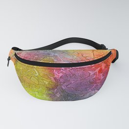 Watercolor multicolored texture, abstract paint stains, crumpled paper, wrinkles Fanny Pack