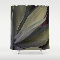 succulent Shower Curtains featuring Succulent by AestheticsAnonymous