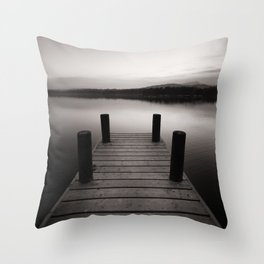 Wooden jetty on lake Windermere Throw Pillow