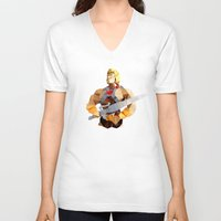 he man V-neck T-shirts featuring Polygon Heroes - He-Man by PolygonHeroes