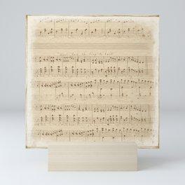 vintage beige music notes Mini Art Print