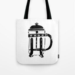 French Press Linocut black and white minimal coffee food printmaking Tote Bag