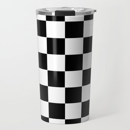 Checker Cross Squares Black & White Travel Mug