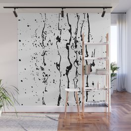 poured paint blots black and white Wall Mural