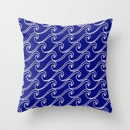 Rough Sea Pattern - white on blue Throw Pillow