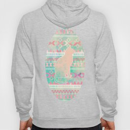 Whimsical Cat, Pink Turquoise Girly Aztec Pattern Hoody