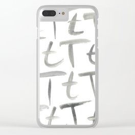 Watercolor T's - Grey Gray Clear iPhone Case