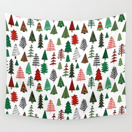 Christmas tree forest minimal scandi patterned holiday forest winter Wall Tapestry