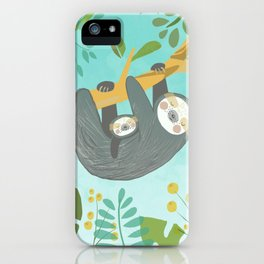 sloth family iPhone Case