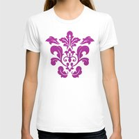 damask T-shirts featuring Fuchsia Damask by Bailey Anderson