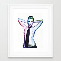 kate moss Framed Art Prints featuring Kate Moss by Cora-Tiana