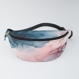 Pastel Plum, Deep Blue, Blush and Gold Abstract Painting Fanny Pack