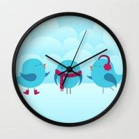 nursery Wall Clocks featuring Nursery Chirp by Silly Hilli