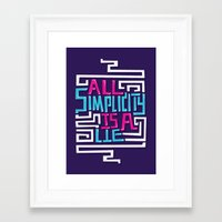 risa rodil Framed Art Prints featuring All Simplicity is a Lie by Risa Rodil