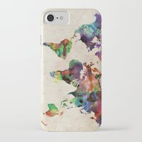canada iPhone & iPod Cases featuring World Map Urban Watercolor by artPause