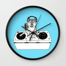 Shiba Inu Dog DJ-ing Wall Clock