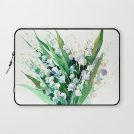 Lilies of the Valley. spring flowers, green white floral art Laptop Sleeve