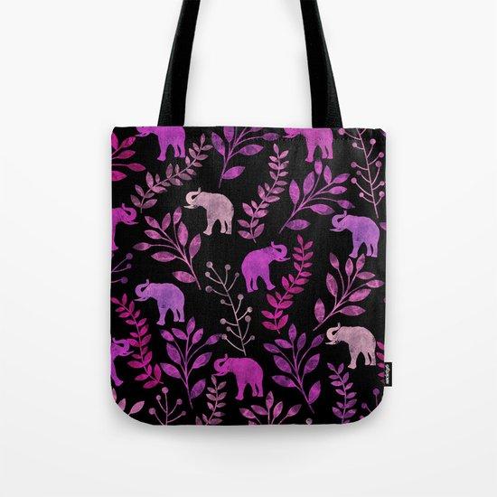 Watercolor Flowers & Elephants III Tote Bag