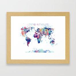 Coloful Splatter World Map Framed Art Print