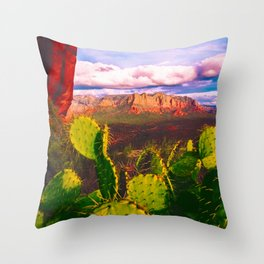 Cacti with a View (Cathedral Rock) Throw Pillow