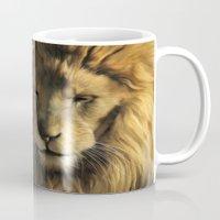 lions Mugs featuring Lions by Julie Hoddinott