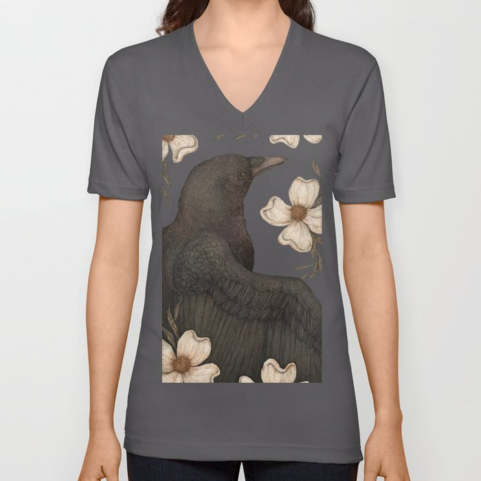 The Crow and Dogwoods Unisex V-Ausschnitt