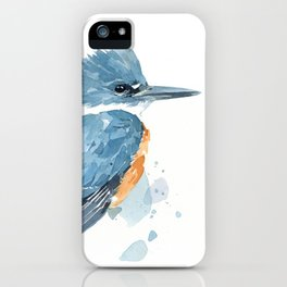 Belted Kingfisher watercolor iPhone Case