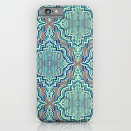 Marker Moroccan in Aqua, Cobalt Blue, Taupe & Teal iPhone Case