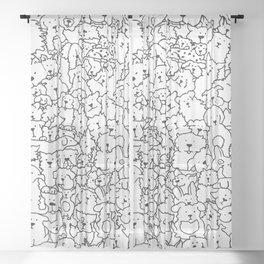 Dog Doodle Art Sheer Curtain