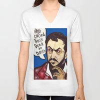 kubrick V-neck T-shirts featuring Kubrick by Hugo Maldonado