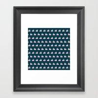 Sailing ships on navy pattern Framed Art Print