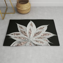 Gray Agave with Rose Gold Glitter #2 #shiny #tropical #decor #art #society6 Rug
