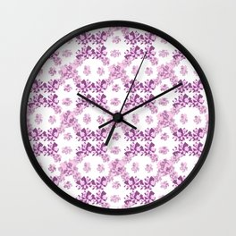 Geometric purple mosaic rotation pattern Wall Clock