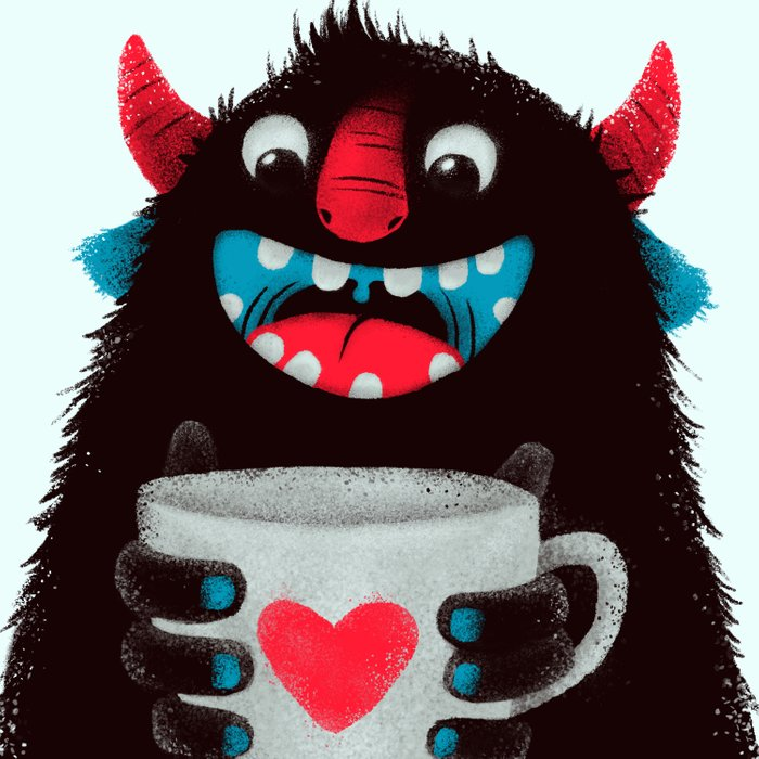 Demon with a cup of coffee (contrast) Comforters